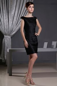 Elegant Copley OH Little Black Prom Dress with Beaded Bateau Neck