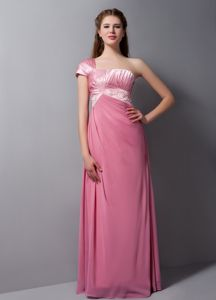 New One Shoulder Pink Long Formal Prom Dress for Summer with Beading