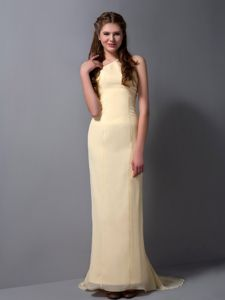 New Arrival Light Yellow Column Brush Train Formal Prom Dress for Girls