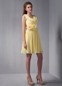 Brand New Draped Neckline Yellow Short Prom Dress with Handmade Flowers