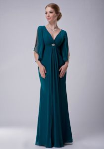 Elegant Peacock Green V-neck Full-length Formal Prom Dresses in Greenfield