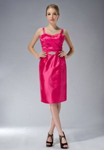 Coral Red Ruched Knee-length Informal Prom Dress with Straps in Hobart