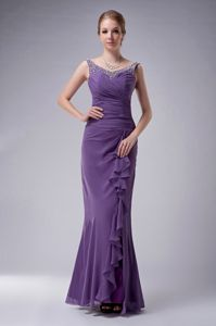 New Purple Floor-length Formal Prom Dress with Beaded Straps and Layers