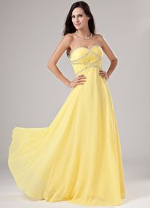 Elegant Yellow Sweetheart Beaded Floor-length Formal Prom Dress in Boise