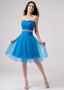 Blue Ruched Sweetheart Dresses for Formal Prom with Appliqued Waist