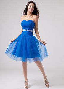 Pretty Sweetheart Sky Blue Knee-length Senior Prom Dress with Appliques
