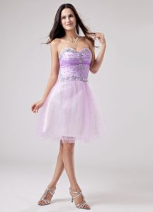 Cute Lavender Sweetheart Knee-length Formal Prom Dresses with Beading