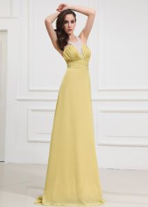 Yellow Green Beaded Halter Ruched Full-length Dresses for Formal Prom