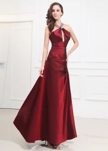 Wine Red Beaded Halter Floor-length Semi-formal Prom Dress with Keyhole