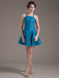 Teal Halter Ruched Mini-length Prom Gown Dress with Beading in Lake City