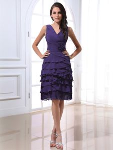 Dark Purple V-neck Knee-length Prom Gown Dress with Flower and Layers