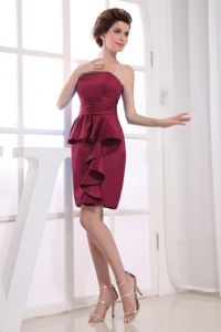 Modest Burgundy Strapless Mini-length Dress for Formal Prom with Layers