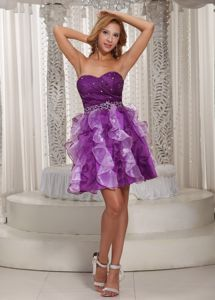 Cute Purple Beaded Sweetheart Mini-length Junior Prom Dress with Ruffles