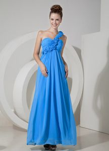 Blue Flowers Single Shoulder Ruched Floor-length Semi-formal Prom Dress