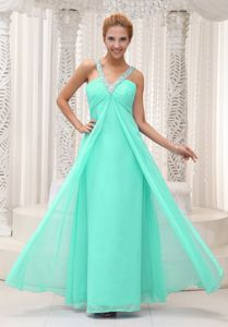 Apple Green Beaded V-neck Ruched Full-length Dress for Prom in Lake City
