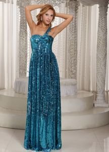 Teal Paillette Over Skirt Single Shoulder Floor-length Formal Prom Dresses
