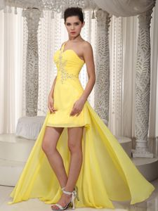 Yellow One Shoulder High-low Ruched Informal Prom Dresses with Beading