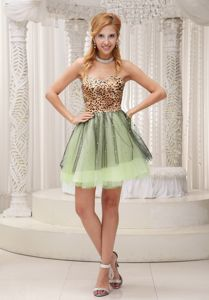 Lovely Leopard Colorful Sweetheart Mini-length Junior Prom Dress in Morris