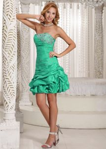 Green Strapless Beaded Mini-length Dress for Prom with Pick-ups in Morris