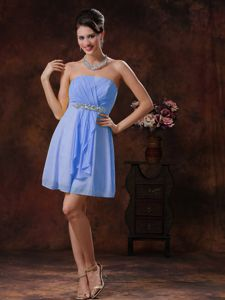 Lovely Blue Strapless Ruched Mini-length Informal Prom Dress with Beading