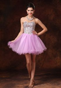 Lovely Pink Strapless Mini-length Semi-formal Prom Dresses with Beading