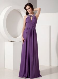 Elegant Eggplant Purple Beaded Scoop Ruched Long Formal Prom Dresses