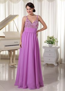 Lavender Beaded Full-length Prom Outfits with Spaghetti Straps in Elwood