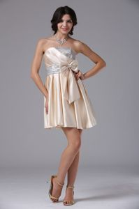 Lovely Champagne Strapless Short Prom Dress with Sequins and Bowknot