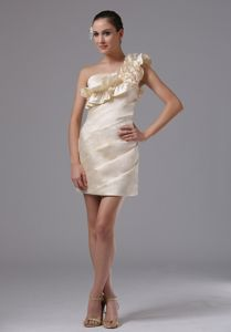 Champagne Ruffled One Shoulder Ruched Short Prom Dress with Flower