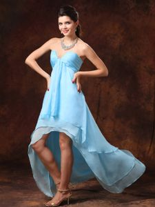 Baby Blue Beaded V-neck High-low Dress for Prom with Ruche in Chester
