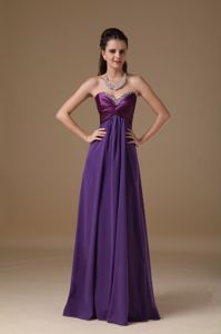Purple Beaded Sweetheart Ruched Floor-length Semi-formal Prom Dresses
