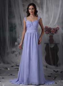 Square Lilac Ruched Full-length Formal Prom Dresses with Beaded Straps