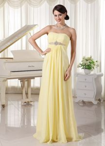 Light Yellow Strapless Ruched Floor-length Prom Gown Dress with Beading