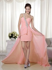 Cute Peach Pink Beaded Single Shoulder High-low Formal Prom Dresses
