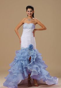 White and Blue Sweetheart High-low Prom Dresses with Flower and Ruffles