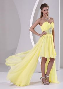 Bright Yellow Beaded Sweetheart High-low Dress for Prom in Columbia