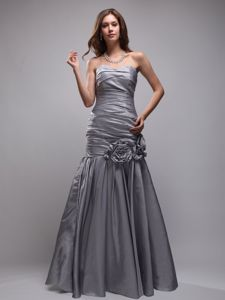 Grey Ruched Sweetheart Full-length Dresses for Formal Prom with Flowers
