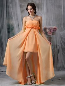 Orange High-low Strapless Prom Dress with Ruches and Flowers in Bronte
