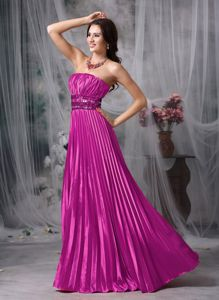 Pleated Strapless Floor-length Hot Pink Prom Attire with Beading in Cone