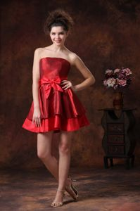 Strapless Mini-length Red Prom Gown Dresses with Bowknot in Hockley