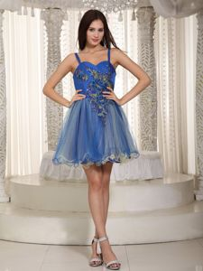 Straps Mini-length Blue Prom Gown Dress with Appliques in Brian Head