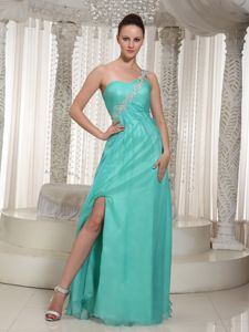 Turquoise High Slit Floor-length Prom Dress with One Shoulder in Bryce
