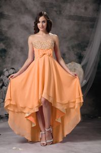Beaded High-low Sweetheart Orange Prom Outfits with Bowknot in Layton