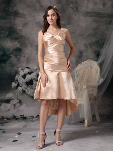 Champagne Ruched Sweetheart Dress for Prom with Longer Back in Orem