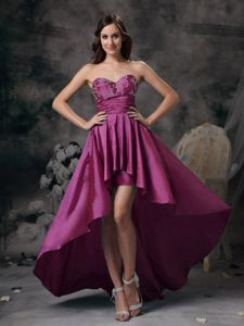 Sweetheart High-low Prom Attire in Fuchsia with Appliques in Bluefield