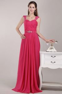 Red Straps Empire Prom Gowns in Floor-length with Ruches in Boydton