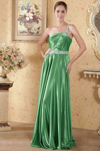 Green One Shoulder Dresses for Formal Prom with Brush Train in Burke