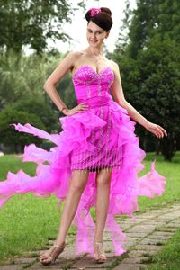 Sweetheart Asymmetrical Prom Dress in Hot Pink with Beading in Clifton