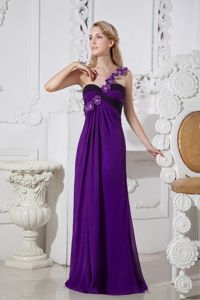 One Shoulder Purple Prom Dress in Floor-length with Hand Made Flowers
