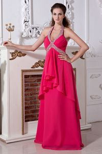 Hot Pink Halter Empire Prom Gown Dresses in Floor-length with Beading